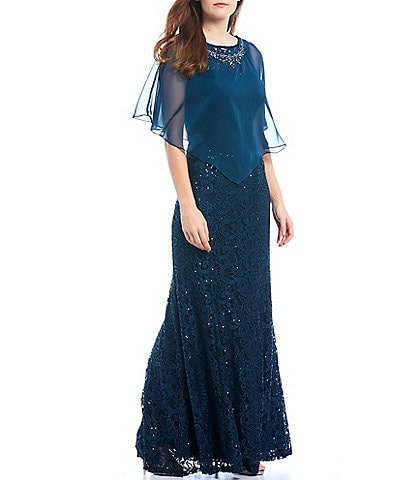 Ignite Evenings 2-Piece Chiffon Capelet Long Sequin Lace Gown