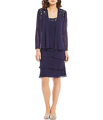 Ignite Evenings 2-Piece Chiffon Sequin Jacket Dress