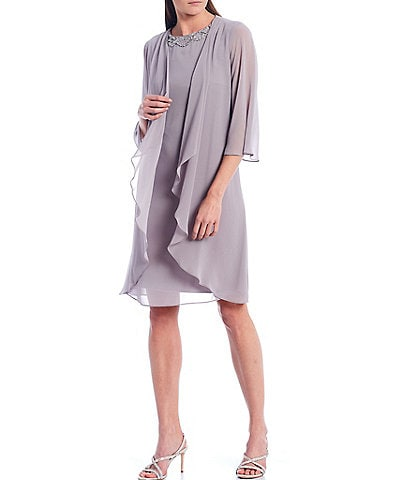 Ignite Evenings 3/4 Sleeve Chiffon Tiered One Piece Jacket Dress