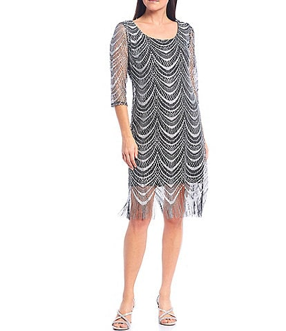 Ignite Evenings 3/4 Sleeve Scoop Neck Crochet Lace Fringe Hem Dress
