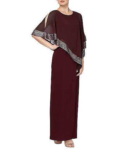 Ignite Evenings Asymmetrical 3/4 Cold Shoulder Sleeve Popover Sheath Dress