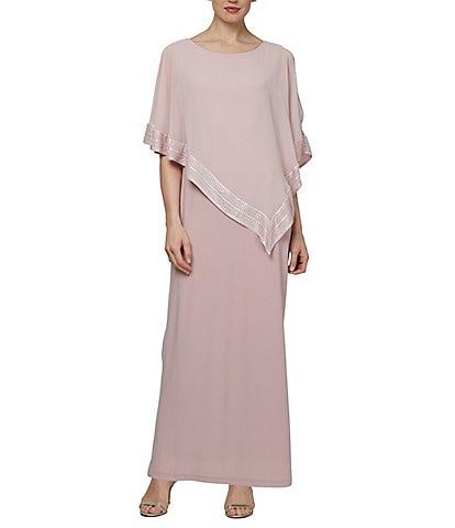 Ignite Evenings Asymmetrical 3/4 Cold Shoulder Sleeve Popover Sheath Dress