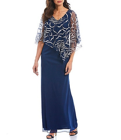 Ignite Evenings Asymmetrical Glitter Mesh Capelet Jersey Gown