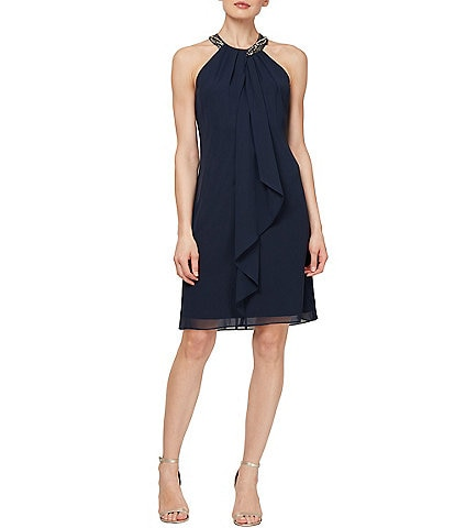 Ignite Evenings Beaded Halter Chiffon Ruffle Sheath Dress