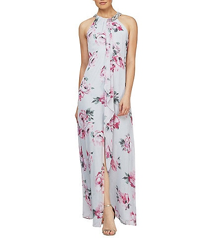 Ignite Evenings Beaded Halter Neck Floral Chiffon Gown