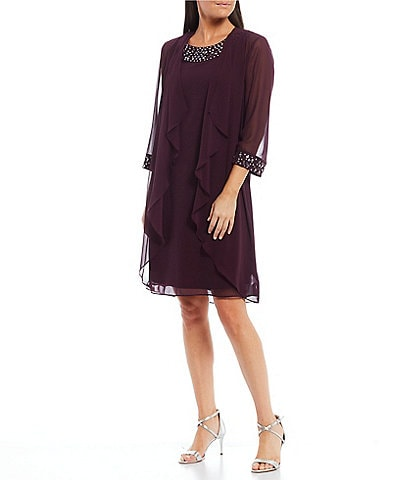 Ignite Evenings Beaded Neckline Tiered Jacket Dress