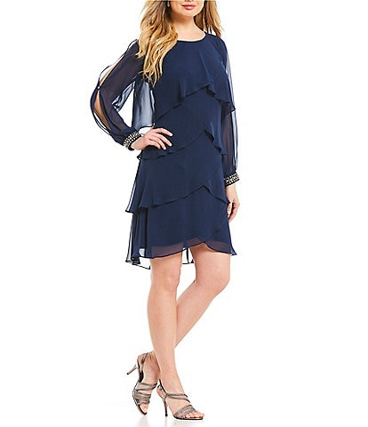 Ignite Evenings Beaded Split Sleeve Chiffon Dress