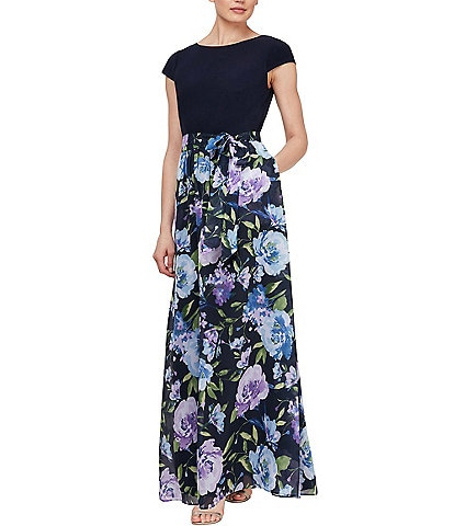 Ignite Evenings Cap Sleeve Floral Maxi Dress