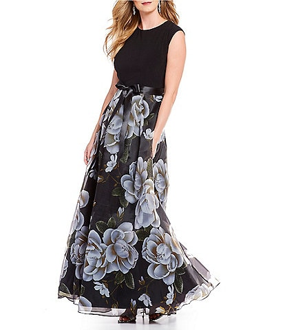 Ignite Evenings Cap Sleeve Satin Belt Floral Print Organza Ballgown