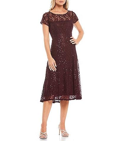 Ignite Evenings Round Neck Cap Sleeve Sequin Lace Midi Dress