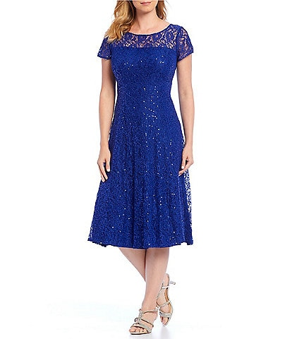 Ignite Evenings Cap Sleeve Sequin Lace Midi Dress