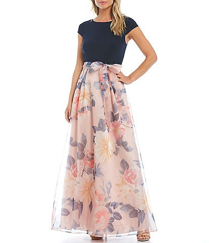 Ignite Evenings Cap Sleeve Stretch Top Floral Organza Ballgown
