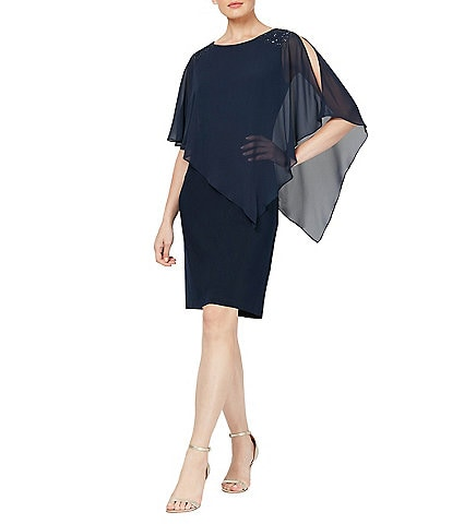 Ignite Evenings Chiffon Asymmetric Overlay Beaded Shoulder Detail Sheath Dress
