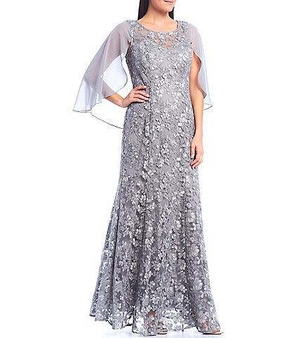 Ignite Evenings Chiffon Cape Embroidered Lace Gown