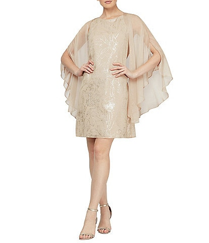 Ignite Evenings Chiffon Cape Floral Sheath Dress