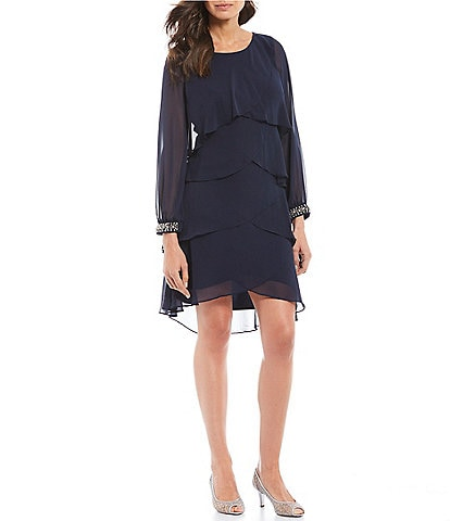Ignite Evenings Chiffon Long Sleeve Tiered Dress