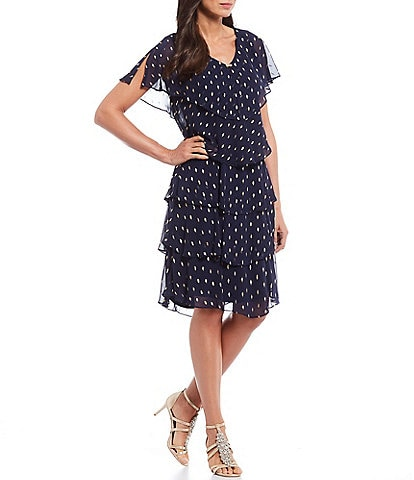Ignite Evenings Chiffon Metallic Polka Dot Tiered Caplet Dress