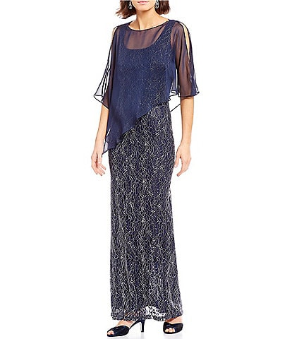 Ignite Evenings Cold Shoulder Asymmetrical Capelet Metallic Lace Gown
