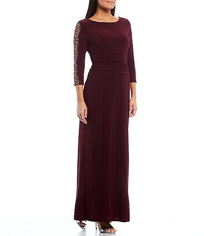 Ignite Evenings Embellished 3/4 Sleeve Ruched Bodice Column Gown