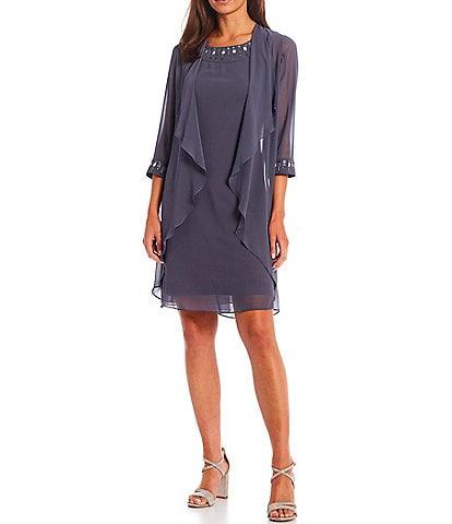 Ignite Evenings Embellished Chiffon Cascading Front Round Neck 3/4 Sleeve 2-Piece Jacket Dress