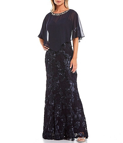 Ignite Evenings Embellished Neck Trim Detail Chiffon Cape Soutache Lace 2-Piece Gown