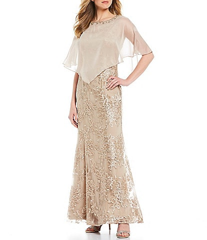 Ignite Evenings Embroidered Beaded Asymmetrical Chiffon Cape Gown