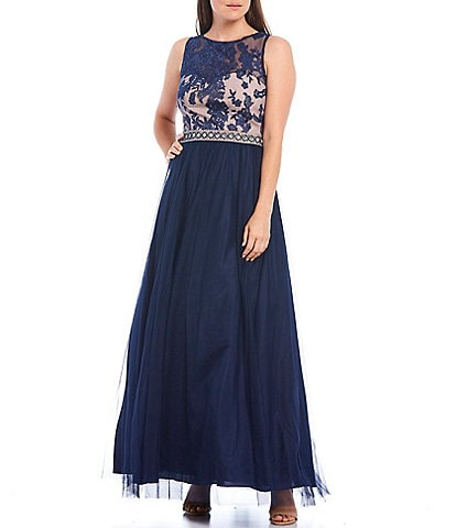Ignite Evenings Embroidered Lace Sleeveless Chiffon Ball Gown