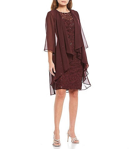 Ignite Evenings Embroidered Sequin Lace Jacket Dress