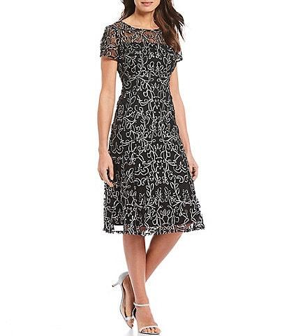 Ignite Evenings Embroidered Soutache Lace Illusion Midi Dress