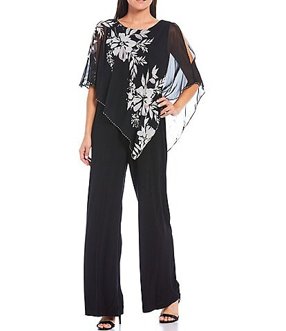 Ignite Evenings Floral Asymmetric Cape Cold Shoulder Jumpsuit