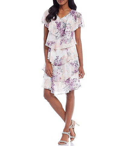 Ignite Evenings Floral Cape Sleeve V-Neck Ruffle Tiered Dress