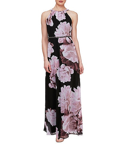 Ignite Evenings Floral Chiffon Beaded Waist Halter Neck Sleeveless Maxi Dress