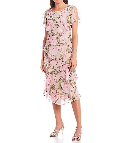 Ignite Evenings Floral Chiffon Short Sleeve Tiered Midi Dress