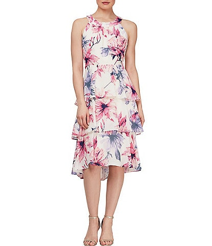 Ignite Evenings Floral Halter Neck Hi-Low Tiered Dress