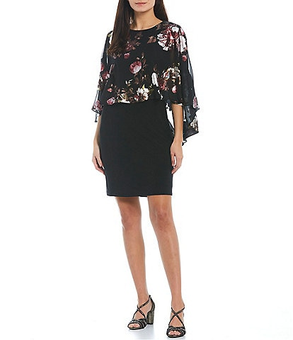 Ignite Evenings Floral High-Low Round Neck Popover Overlay Sheath Dress