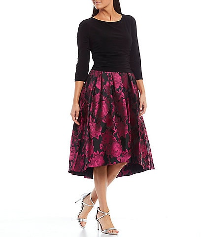 Ignite Evenings Floral Jacquard 3/4 Sleeve Party Dress