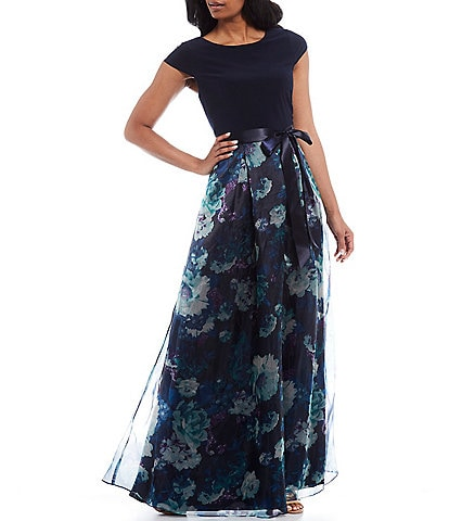 Ignite Evenings Floral Organza Cap Sleeve Bow Detail Gown