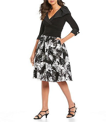 Ignite Evenings Floral Portrait Print Collar Party A-Line Dress