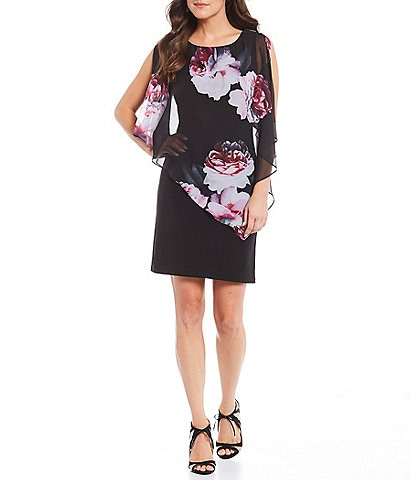 Ignite Evenings Floral Print Asymmetric Popover Sheath Dress