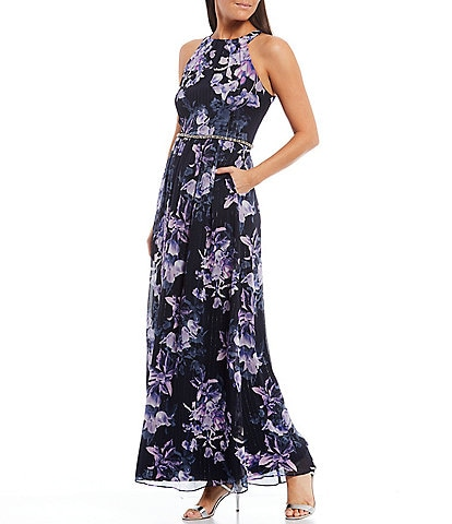 Ignite Evenings Floral Print Chiffon High Round Neck Sleeveless Embellished Waist Dress with Pockets