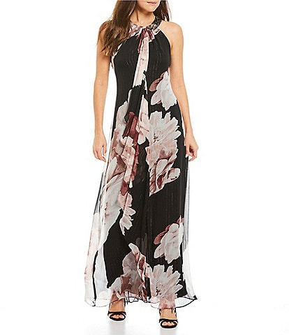 Ignite Evenings Floral Print Metallic Stripe Beaded Halter Dress
