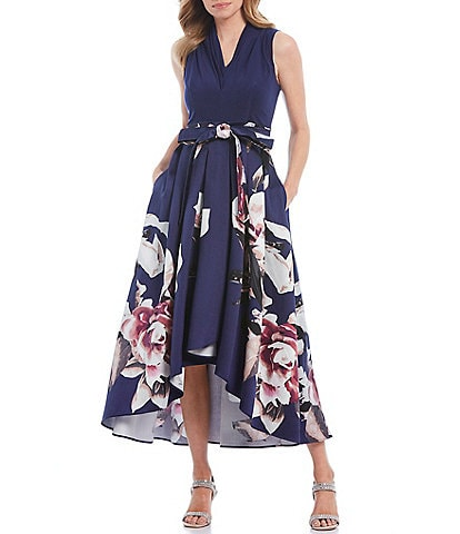 Ignite Evenings Floral Print Mikado Tie Waist Hi-Low Midi Dress with Pockets