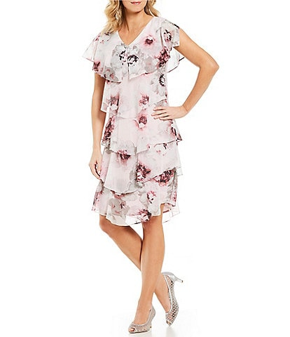 Ignite Evenings Floral Print Tiered Ruffle Dress