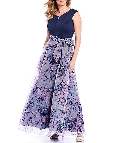 Ignite Evenings Cap Sleeve Floral Printed Organza Bow Waist Gown