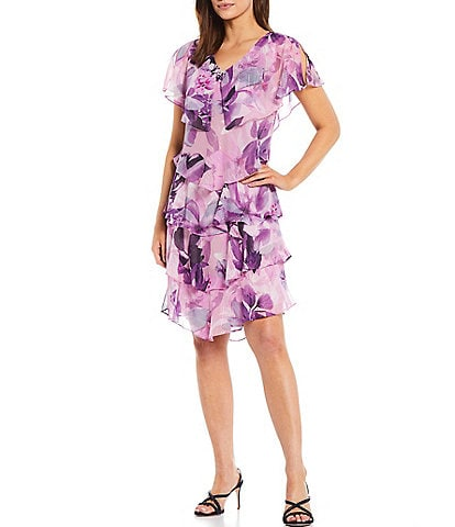 Ignite Evenings Floral Printed V-Neck Embellishment Sleeveless Tier Dress