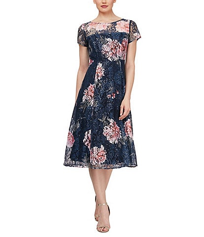 Ignite Evenings Floral Short Sleeve Sequin Lace Midi Dress