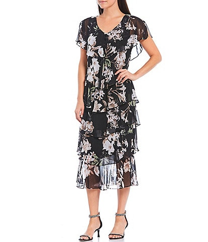 Ignite Evenings Floral Tiered V-Neck Short Sleeve Midi Dress
