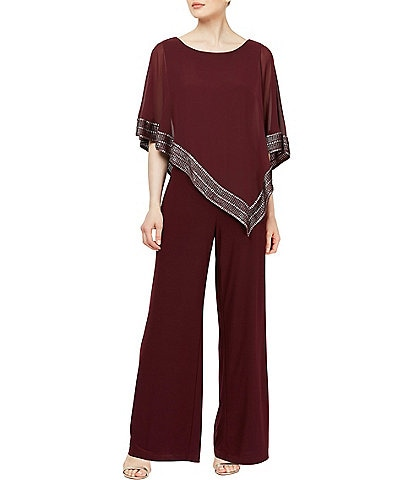 Ignite Evenings Foil Trim Asymmetric Cape Jumpsuit