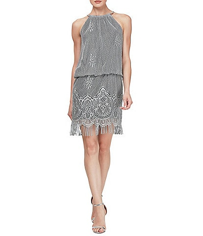 Ignite Evenings Halter Chain Neck Sleeveless Crochet Fringe Hem Metallic Blouson Dress
