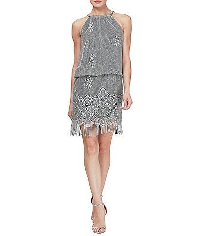71c2582d9422 Ignite Evenings Halter Chain Neck Sleeveless Crochet Fringe Hem Metallic  Blouson Dress